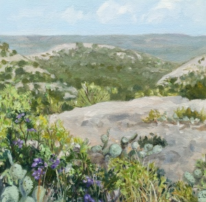 """Mt Laurel and Prickly Pear 9""""x9"""" $150"""
